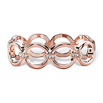 Round White Crystal Circle Link Hinged Closure Bangle Bracelet Rose Gold-Plated 7.5