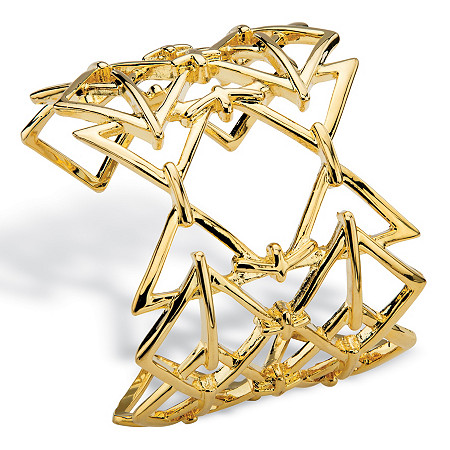 Open Triangle Link Geometric Cuff Bracelet in Gold Tone 6