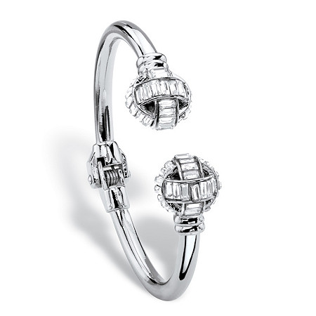 "Baguette-Cut White Crystal Ball Hinged Cuff Bracelet in Silvertone 8"" at PalmBeach Jewelry"