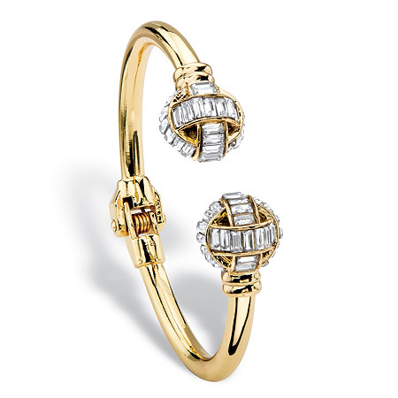 "Baguette-Cut White Crystal Ball Hinged Cuff Bracelet in Gold Tone 8"" at PalmBeach Jewelry"