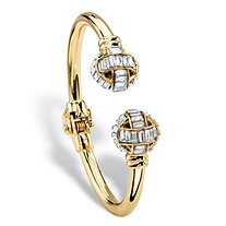Baguette-Cut White Crystal Ball Hinged Cuff Bracelet in Gold Tone 8""