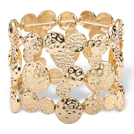 """Hammered Circle Charm Stretch Bangle Bracelet in Gold Tone 7"""" at PalmBeach Jewelry"""
