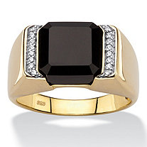 Men's Cushion-Cut Genuine Black Onyx and CZ Accent Classic Ring in 18k Gold over Sterling Silver