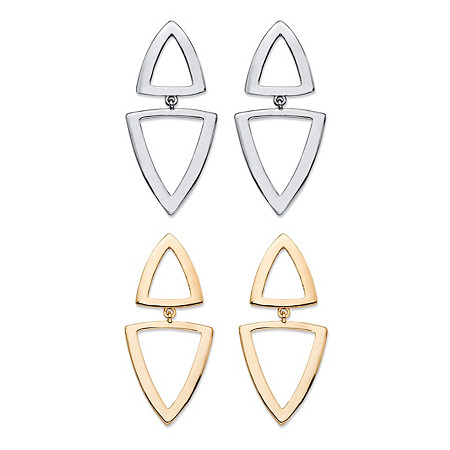Double Open Triangle 2-Pair Geometric Drop Earrings Set in Gold Tone and Silvertone 2
