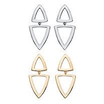 Double Open Triangle 2-Pair Geometric Drop Earrings Set in Gold Tone and Silvertone 2""