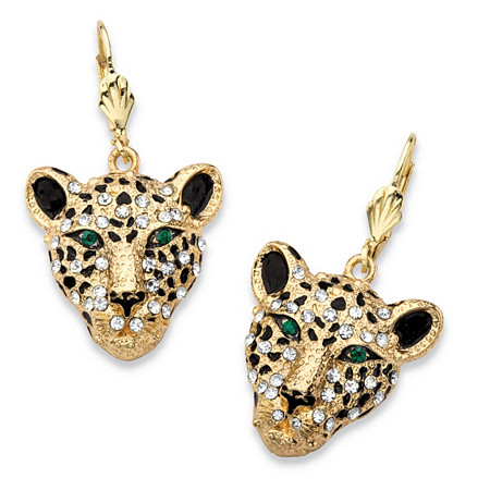 White Crystal Leopard Face Drop Earrings with Green Crystal Accents in Gold Tone at PalmBeach Jewelry