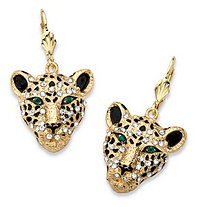 White Crystal Leopard Face Drop Earrings with Green Crystal Accents in Gold Tone