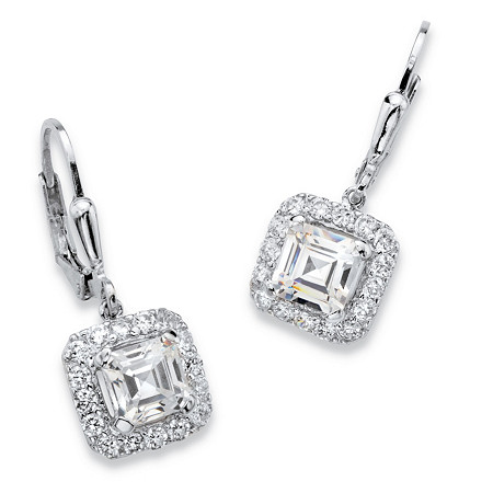 3.20 TCW Princess-Cut Cubic Zirconia Halo Drop Earrings in Platinum over Sterling Silver with Lever Backs 1