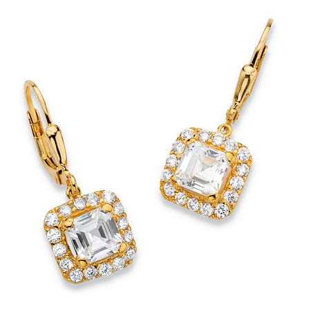 3.20 TCW Princess-Cut Cubic Zirconia 18k Gold over .925 Sterling Silver Halo Drop Earrings at PalmBeach Jewelry