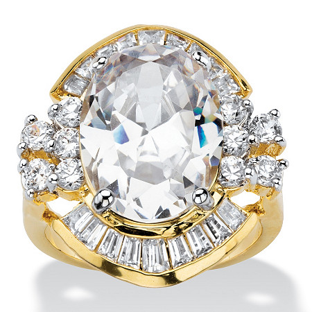 11.50 TCW Oval and Baguette-Cut Cubic Zirconia Vintage-Style Cocktail Ring 14k Gold-Plated at PalmBeach Jewelry