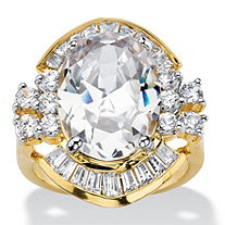 11.50 TCW Oval and Baguette-Cut Cubic Zirconia Vintage-Style Cocktail Ring 14k Gold-Plated