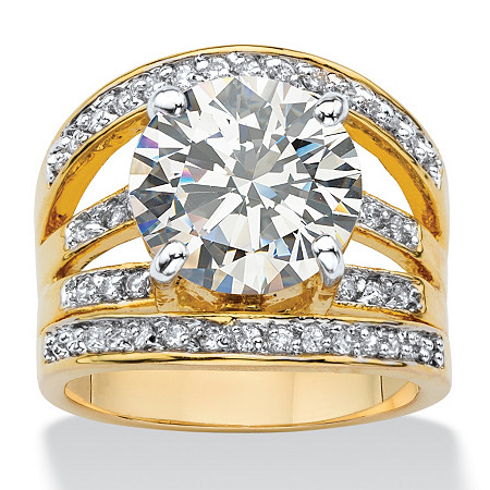 6.55 TCW Round Cubic Zirconia  Multi-Row Engagement Ring 14k Gold-Plated at PalmBeach Jewelry