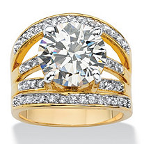 6.55 TCW Round Cubic Zirconia  Multi-Row Engagement Ring 14k Gold-Plated