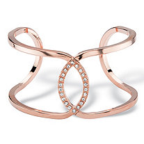 Round White Crystal Mirror Image Open Loop Cuff Bracelet Rose Gold-Plated 7""