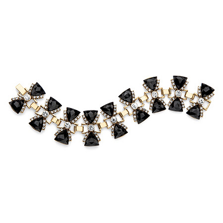 Trilliant-Cut Faceted Simulated Black Onyx and White Crystal Antiqued Gold Tone Bow Tie Bracelet 7.75