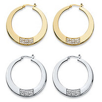 "Round Crystal Square Cluster 2-Pair Hoop Earrings Set in Gold Tone and Silvertone (1 3/4"")"