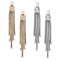 Tassel Fringe and Crystal Accent 2-Pair Drop Earrings Set in Gold Tone and Silvertone 2.33""