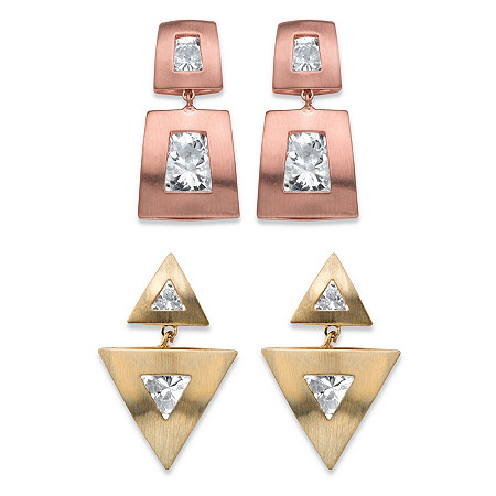 Squared and Triangle Channel-Set Round Crystal 2-Pair Drop Earrings Set in Rose Gold-Plated and Gold Tone at PalmBeach Jewelry