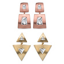Squared and Triangle Channel-Set Round Crystal 2-Pair Drop Earrings Set in Rose Gold-Plated and Gold Tone