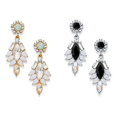"Marquise and Pear-Cut Multicolor Crystal  2-Pair Vintage-Style Drop Earrings Set in Gold Tone and Silvertone 1.75"" at PalmBeach Jewelry"