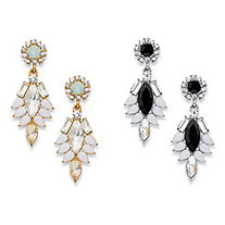 Marquise and Pear-Cut Multicolor Crystal  2-Pair Vintage-Style Drop Earrings Set in Gold Tone and Silvertone 1.75