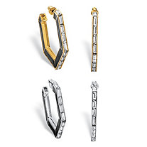 Baguette-Cut Simulated Crystal 2-Pair C-Shaped Earrings Set in Gold Tone and Silvertone 1""