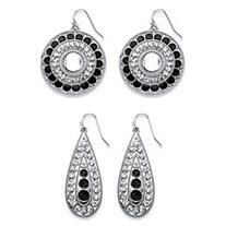 SETA JEWELRY Black and White Crystal Silvertone Round and Pear Drop 2-Pair Vintage-Style Earrings Set 1.5