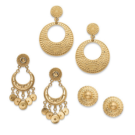 Textured Button, Drop and Chandelier 3-Pair Bohemian Earrings Set in Matte Gold Tone at PalmBeach Jewelry