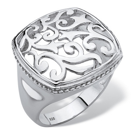 Squared Filigree Classic Ring with Milgrain Edging in Sterling Silver at PalmBeach Jewelry