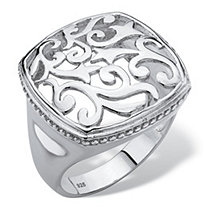 Squared Filigree Classic Ring with Milgrain Edging in Sterling Silver