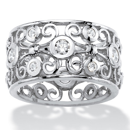 1 TCW Round White Cubic Zirconia Scroll Eternity Ring in Sterling Silver at PalmBeach Jewelry