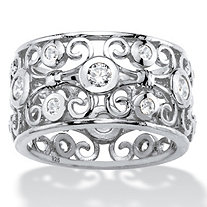 SETA JEWELRY 1 TCW Round White Cubic Zirconia Scroll Eternity Ring in Sterling Silver