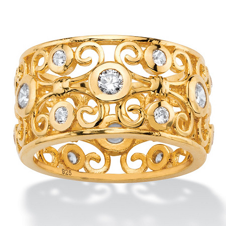 1 TCW Round White Cubic Zirconia Scroll Eternity Ring in 18k Gold over Sterling Silver at PalmBeach Jewelry