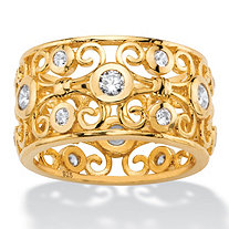 1 TCW Round White Cubic Zirconia Scroll Eternity Ring in 18k Gold over Sterling Silver