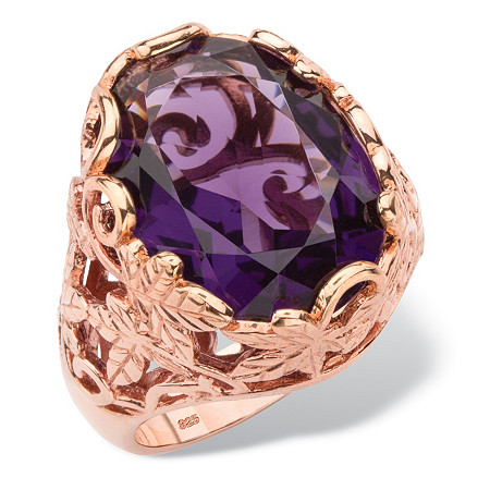Oval-Cut Simulated Purple Amethyst Faceted Cocktail Ring with Scrolling Leaf Detailing in Rose Gold-Plated Sterling Silver at PalmBeach Jewelry