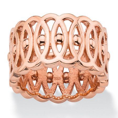 Oval-Link and Beaded Geometric Eternity Ring in Rose Gold over Sterling Silver at PalmBeach Jewelry