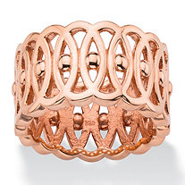Oval-Link and Beaded Geometric Eternity Ring in Rose Gold over Sterling Silver