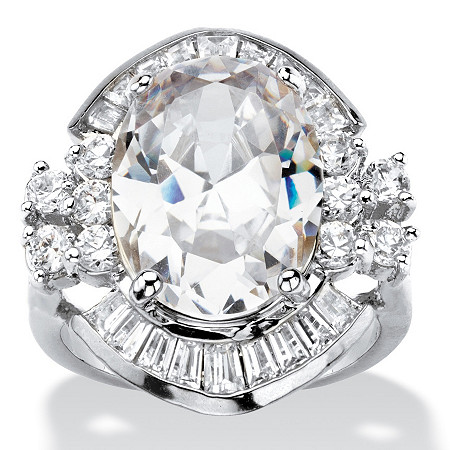 11.50 TCW Oval Cubic Zirconia Vintage-Style Cocktail Ring in Silvertone with Channel-Set Baguette Accents at PalmBeach Jewelry