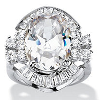 11.50 TCW Oval Cubic Zirconia Vintage-Style Cocktail Ring in Silvertone with Channel-Set Baguette Accents