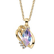 Marquise-Cut Aurora Borealis Crystal Freeform Loop Pendant Necklace 14k Gold-Plated with White Crystal Accents 18