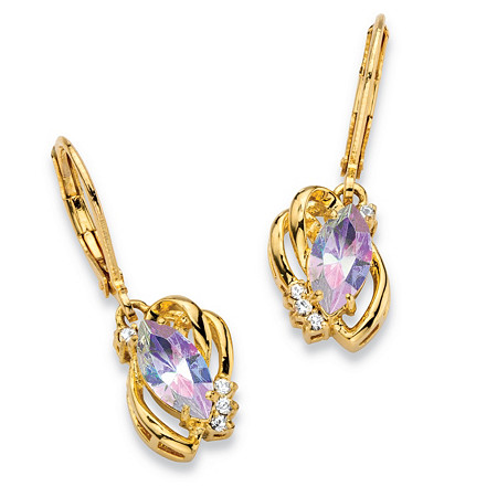 "Marquise-Cut Aurora Borealis Crystal Freeform Loop Drop Earrings 14k Gold-Plated 1"" Length with Lever Backs at PalmBeach Jewelry"