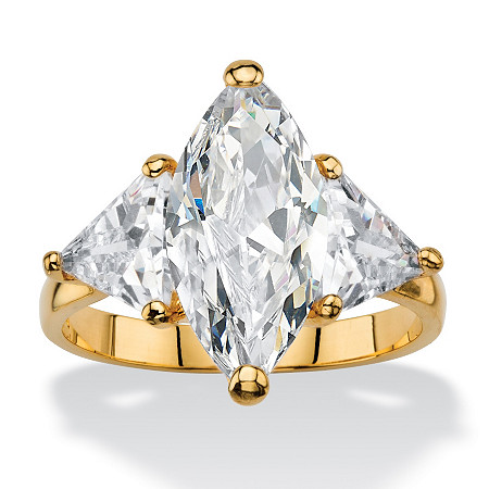 2.20 TCW Marquise-Cut Cubic Zirconia 3-Stone Ring 14k Gold-Plated with Trilliant-Cut Accents at PalmBeach Jewelry