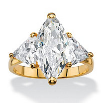 6.06 TCW Marquise-Cut Cubic Zirconia 3-Stone Ring 14k Gold-Plated with Trilliant-Cut Accents