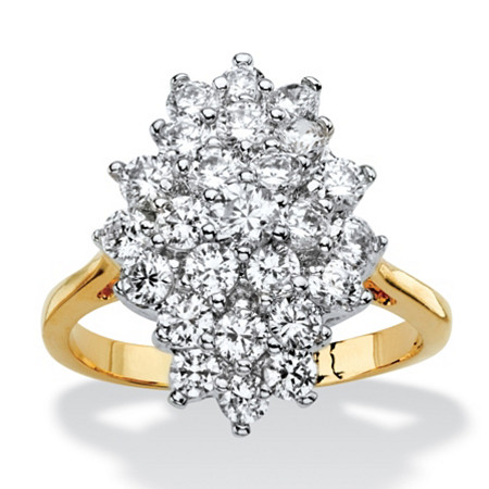 1.82 TCW Cubic Zirconia Marquise-Shaped Cluster Cocktail Ring Gold-Plated at PalmBeach Jewelry