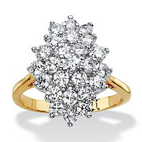1.82 TCW Cubic Zirconia Marquise-Shaped Cluster Cocktail Ring 14k Gold-Plated