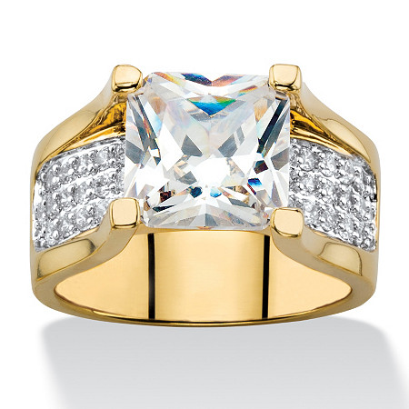 3.28 TCW Princess-Cut and Pave Cubic Zirconia Engagement Ring 14k Gold-Plated at PalmBeach Jewelry