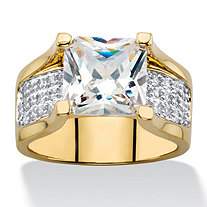 3.28 TCW Princess-Cut and Pave Cubic Zirconia Engagement Ring 14k Gold-Plated