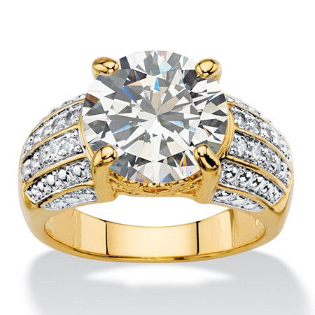 6.40 TCW Round White Cubic Zirconia Multi-Row Two-Tone Engagement Ring 14k Gold-Plated at PalmBeach Jewelry