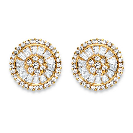 3.11 TCW Round and Baguette-Cut White Cubic Zirconia Cluster Halo Stud Earrings 14k Gold-Plated at PalmBeach Jewelry