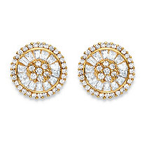 3.11 TCW Round and Baguette-Cut White Cubic Zirconia Cluster Halo Stud Earrings 14k Gold-Plated